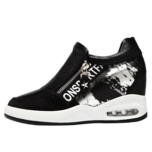 Passionow Women's Slip-on Side Zip Round Toe Hidden Heel PU Fashion Sneakers (7.5 B(M)US,black)