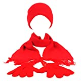 Winter 3pc Boys Age 4-8 Dual Knit Beanie Skull Hat Gloves Scarf Ski Set Red