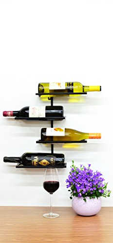 Superiore Livello Pisa Metal 4 Bottle Wall Mounted Wine Rack. Industrial Style Living Wall Mounted Wine Storage Rack. Wine Bottle Storage Rack . (Wine Bottle Rack Mounted compare prices)