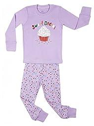 Elowel Girls\' Kid\'s Cupcake Pajama Set, Multi, 3T