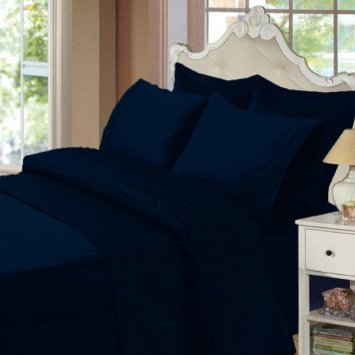 Solid Navy 300 Thread Count Full/Queen Size 3Pc Duvet Cover Set 100 % Egyptian Cotton With Button Enclosure front-1047509