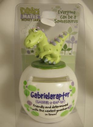 Dinomate Saveasaurus Money Jar Gabrielaraptor Gabriela * Bank Piggy Save Gift - 1