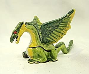 New Metal Green Flying Dragon Trinket Box Fantasy