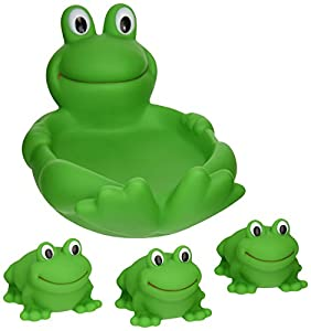 Elegant Baby Rubber Soap Dish with 3 Squirties Baby Shower or Birthday Tub Squirt Toys Gift Set - Frog