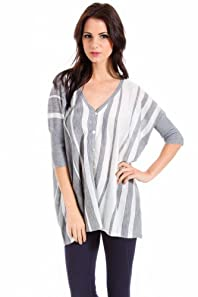 Cecieco Collection Dolman Sleeved Striped Cardigan in Grey and Ivory