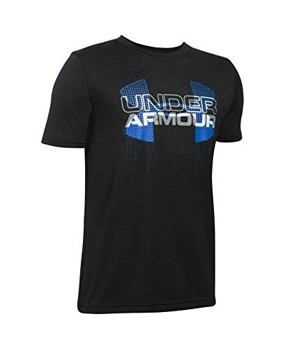 Under Armour Boys' Tech Big Logo Hybrid T-Shirt, Black (003), Youth Medium