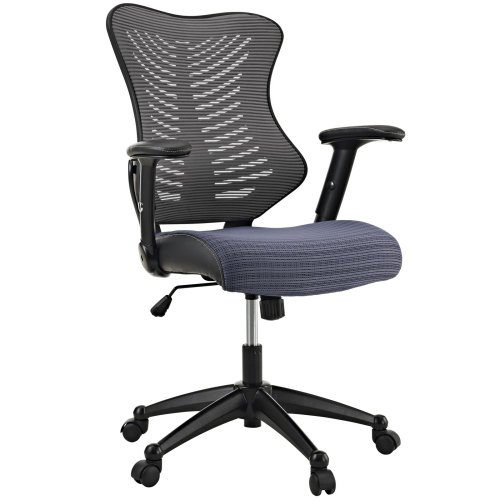 LexMod Clutch Office Chair with Black Mesh Back and Seat, Grey