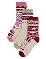 3 Pairs of Cotton Rich Thermal Fair Isle Socks