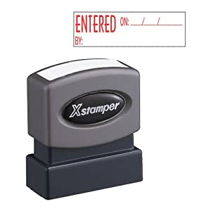 Xstamper One-Color Title Message Stamp, Entered, Pre-Inked/Re-Inkable, Red (1822)