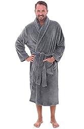 Del Rossa Men\'s Fleece Robe, Shawl Collar Bathrobe, Small Medium Steel Grey (A0114STLMD)