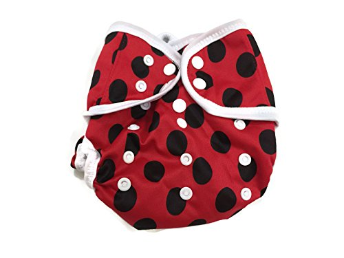 BB2 Baby One Size Printed White Gussets Snaps Cloth Diaper Cover for Prefolds (One Size, Red & Black Polka Dots)