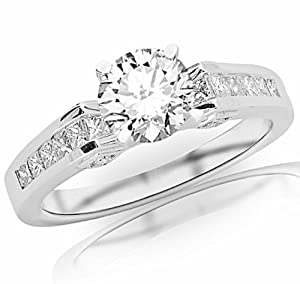 1.45 Carat IGI Certified 14k White Gold Channel Set Princess Cut Diamond Engagement Ring