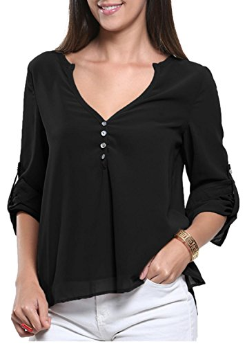 IF FEEL Womens V-Neck Button Detail Dip Back Blouse Top ((US 16-18)XL, Black)