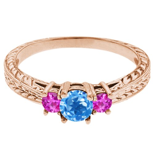 0.59 Ct Round Swiss Blue Topaz Pink Sapphire 18K Rose Gold 3-Stone Ring