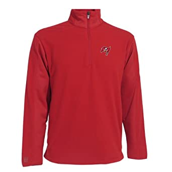 NFL Mens Tampa Bay Buccaneers 3 4 Zip Fleece Pullover by Antigua