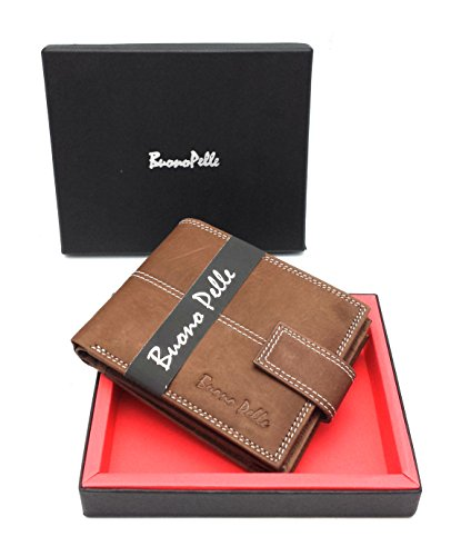 Mens BUONO PELLE Brown Distressed Leather Wallet With Secure Zip Coin Pocket & ID Window Gift Boxed