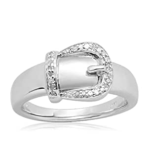 Sterling Silver Buckle Diamond Ring (0.05 cttw, I-J Color, I2-I3 Clarity), Size 9