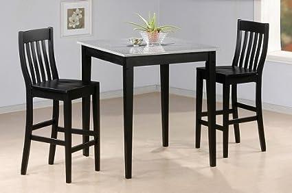 3pc Black Finish Faux Marble Top Bar Table & 2 Stool Set