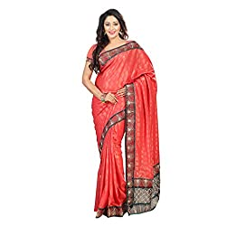 Bikaw Women's Satin Saree (RS_Ragini Sarees_07 C_Orange_Free Size)