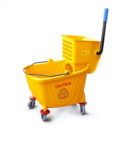 New Star 1 PC Commercial Quality Extra Large Side Press Mop Bucket with Wringer 36 Quart/9 Gallon Capacity, Yellow (Side Press Bucket Wringer compare prices)