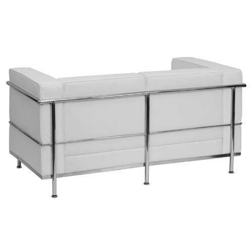 Flash Furniture HERCULES Regal Series Contemporary Melrose White Leather Loveseat with Encasing Frame