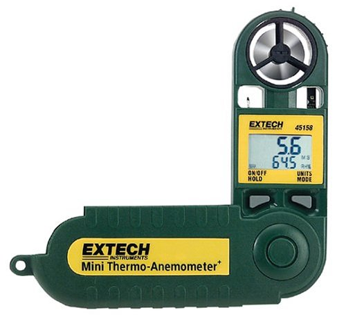 Mini Thermo-Anemometer+ w/ Temp+Humidity - Extech Instruments - EX-45158 - ISBN: B00023RVRU - ISBN-13: 0793950451588