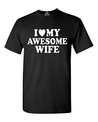 I Heart My Awesome Wife T-shirt Couple Shirts Large Black