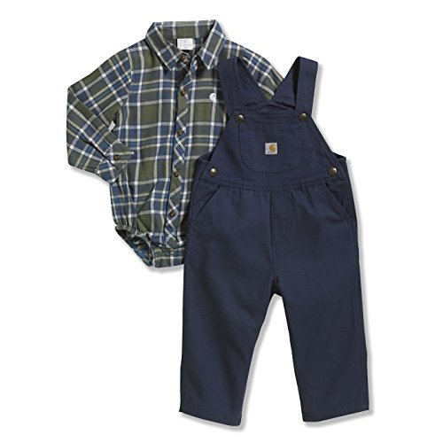 Carhartt Baby-Boys Infant Plaid Canvas Bib Overall Set, Insignia Blue, 18 Months front-869404