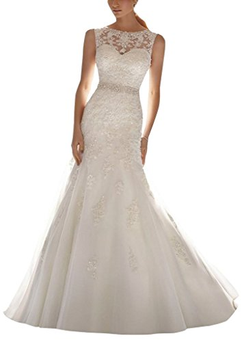 HoneeyGirl Latest Sleeveless Lace Appliques Mermaid Tulle Bridal Dress Wedding Gown ivory 14