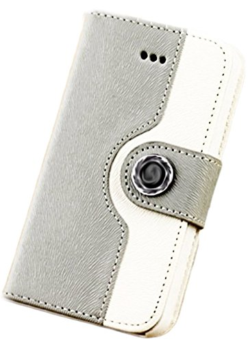 myLife Cool Gray and Snow White {Luxury Two Color Design} Faux Leather (Card, Cash and ID Holder + Magnetic Closing) Slim Wallet for the iPhone 5C Smartphone by Apple (External Textured Synthetic Leather with Magnetic Clip + Internal Secure Snap In Hard R