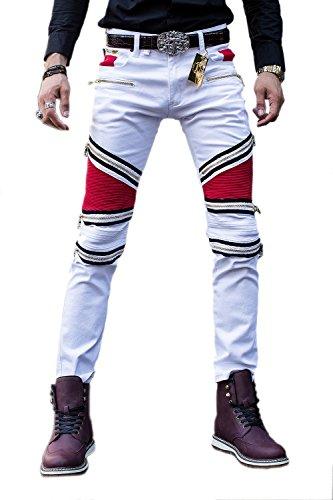 Pantaloni degli uomini Denim pista diritta Biker Jeans classico Slim white 28