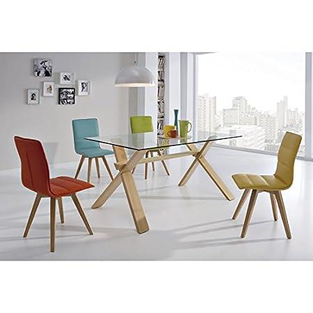 Conjunto de comedor mesa cristal 150cm y 4 sillas Naik - HEVEA/BLANCO