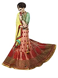 Touch Trends Peach Embroidered Lehenga Choli