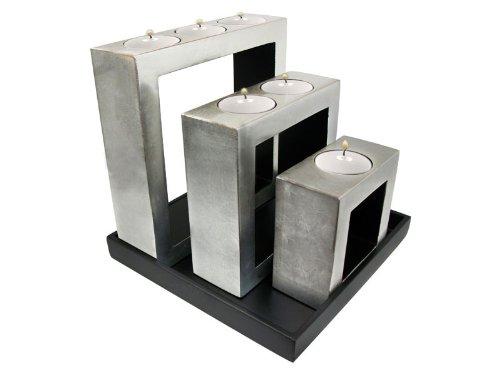 Metallic silver- set of decorative wooden lacquer square shapped tea-light candleholders-7