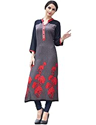 EthnicCrush Women's Cotton Printed Kurti(ECHTBinto1502,Black & Grey)