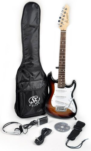 SX RST 1/2 3TS 1/2 Size Short Scale Sunburst Guitar Package with Amp, Carry Bag and Instructional DVD