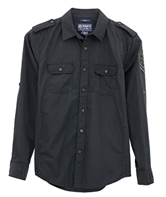 American Rag Shirt, Solid Work Long Sleeve Shirt- Black Sea (Small)