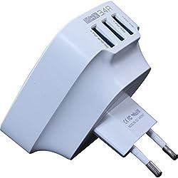 SLANZER Brand Premium Quality 3 Port USB Travel Charger for Samsung, MicroMax, Sony Xperia, Motorola, Nokia Lumia, HTC, Google Nexus, LG, iPhone Mobile & Tablets - White (SZC W403WT)