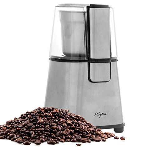 Electric Coffee Bean Grinder, Stainless Steel, Transparent Lid, Coarse-Fine Grinding, 60 Grams - by Keyton