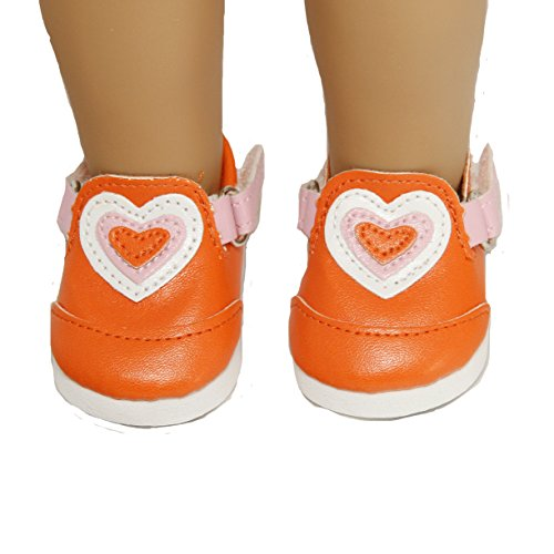 Orange Heart Shoes for 18 Inch Dolls Like American Girl