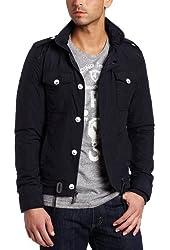 J.C Rags Men's Zip Jacket with Button Down Placket