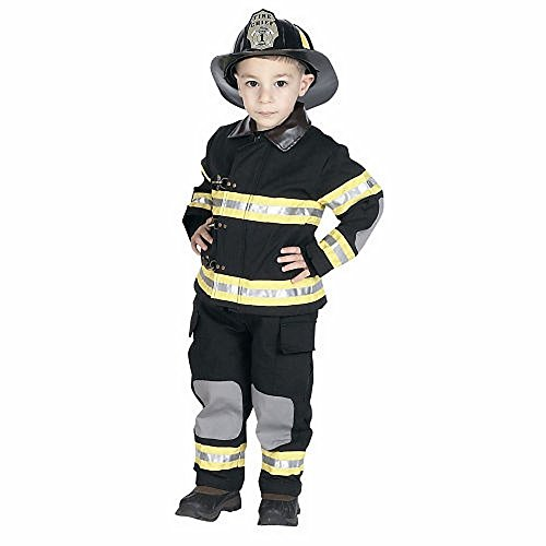 Jr Fire Fighter Suit (Black) w/ Helmet Child Costume Ages 6-8 (BFFB-68)