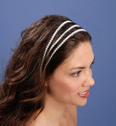 White Triple Pearl Strand Headband with Ribbon Tie