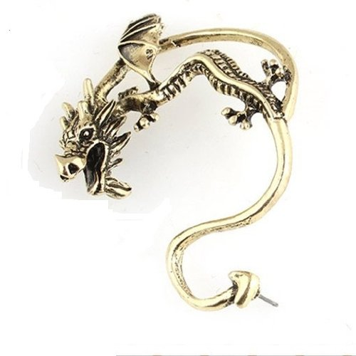 Alchemy Gothic Dragon Cuff Earring Bronze Tone Fashion Jewelry Collection