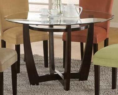 Cheap Bloomfield Round Glass Top Dining Table by Coaster (101490-SET)