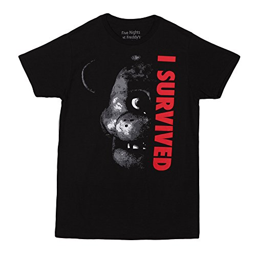 Five Nights At Freddy's I Survived Adult T-Shirt - Black (Large)