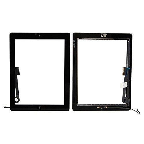 Mimi Touchscreen Digitizer für schwarz Apple iPad 4Modell A1458, A1459, A1460+ Home Button + Face Kamera Rahmen + Klebeband