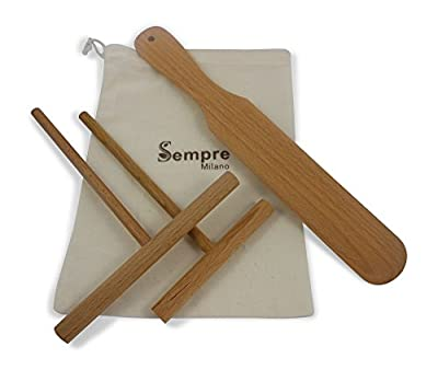 Sempre Crepe Spreader and Spatula Set (3 piece Kit ) in Handy Storage Bag with Bonus Recipe Card.