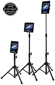 Coolplay Floor Tripod Stand and Mount for Tablets - iPad, iPad Mini, Samsung Galaxy Tab and Phones within 7-10 Inch. Rotatable 360°. Carrying Case Included. Black