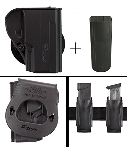 Sig Sauer Sigtac P250 Sub-Compact All Calibers Right Hand Paddle Holster, Black + Ultimate Arms Gear 9mm/.40/.45 Magazine Belt Clip